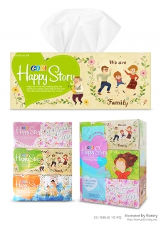 Package of tissues with illustration